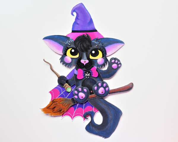 Halloween Cat Witch Paper Doll